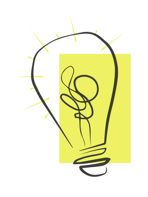 A hand-drawn lightbulb sits on top of a yellow rectangle. The lightbulb has shining yellow lines coming from the bulb.